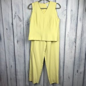 Ann Taylor 8 Silk Two Pc Pant Suit Yellow Lined